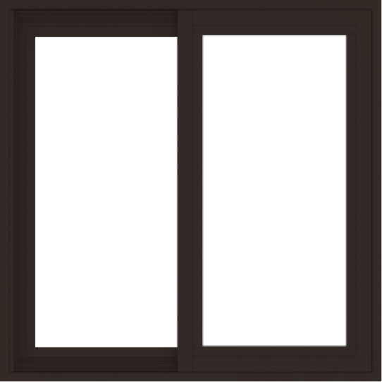WDMA 30x30 (29.5 x 29.5 inch) Vinyl uPVC Dark Brown Slide Window without Grids Exterior