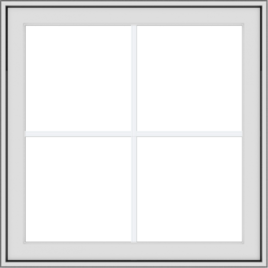 WDMA 30x30 (29.5 x 29.5 inch) White Vinyl uPVC Crank out Awning Window with Colonial Grids Exterior
