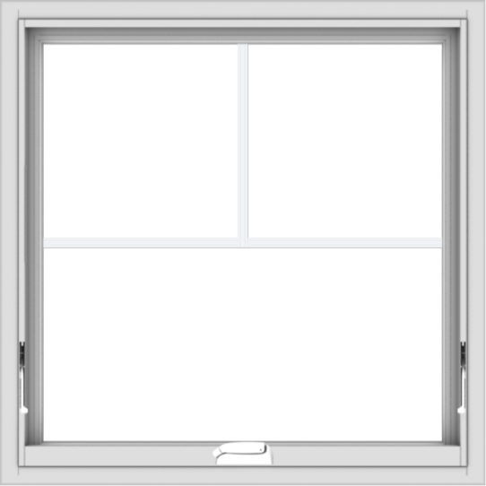 WDMA 30x30 (29.5 x 29.5 inch) White Vinyl uPVC Crank out Awning Window with Fractional Grilles