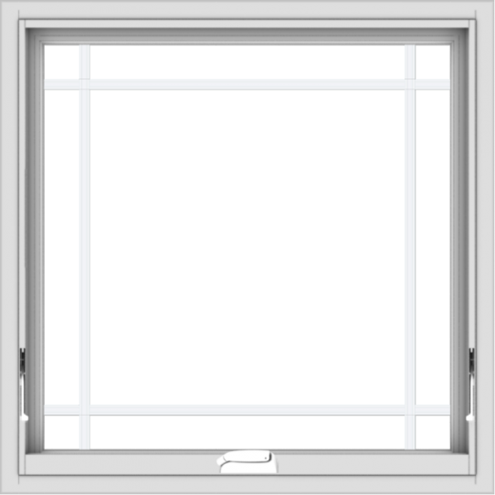 WDMA 30x30 (29.5 x 29.5 inch) White Vinyl uPVC Crank out Awning Window with Prairie Grilles