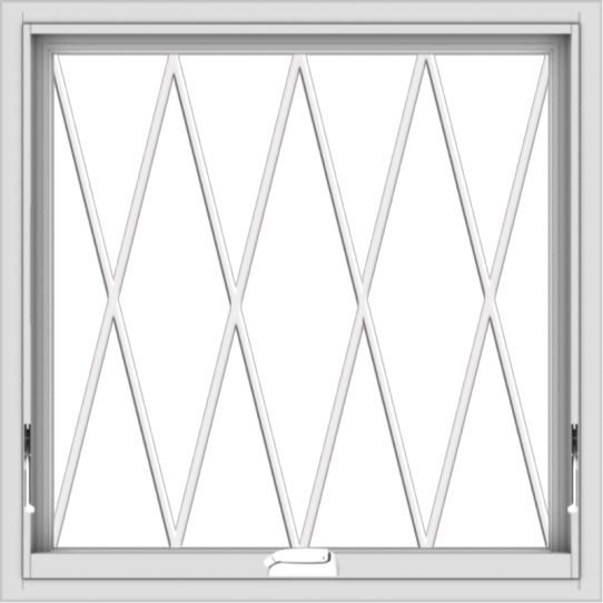WDMA 30x30 (29.5 x 29.5 inch) White Vinyl uPVC Crank out Awning Window without Grids with Diamond Grills