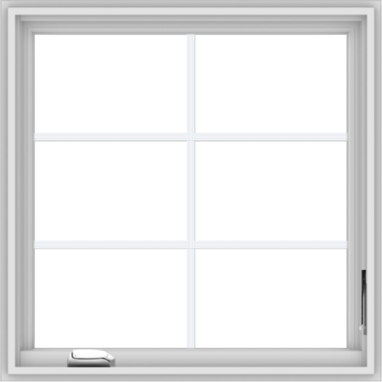 WDMA 30x30 (29.5 x 29.5 inch) White Vinyl uPVC Crank out Casement Window with Colonial Grids