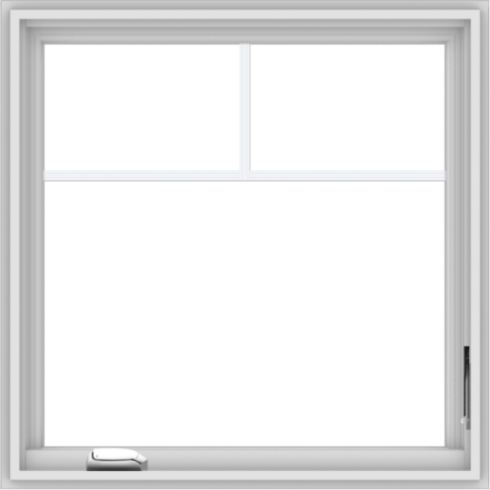WDMA 30x30 (29.5 x 29.5 inch) White Vinyl uPVC Crank out Casement Window with Fractional Grilles