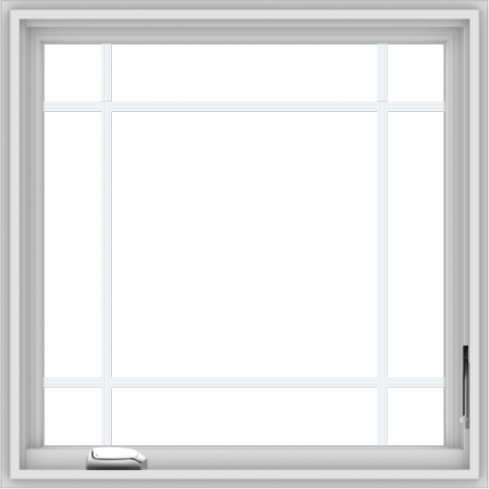 WDMA 30x30 (29.5 x 29.5 inch) White Vinyl uPVC Crank out Casement Window with Prairie Grilles