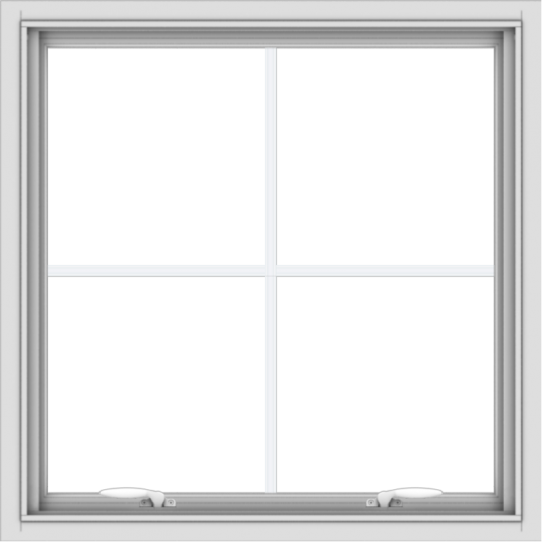 WDMA 30x30 (29.5 x 29.5 inch) White uPVC Vinyl Push out Awning Window with Colonial Grids Interior