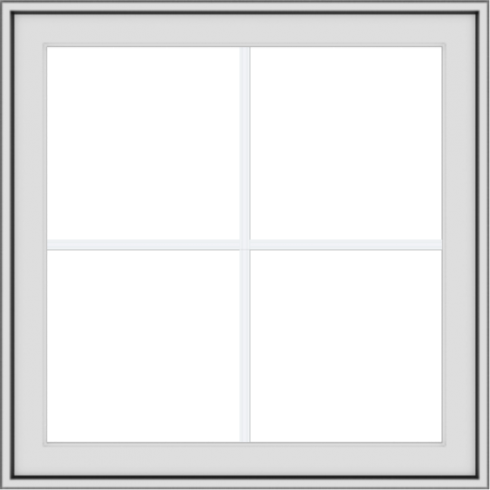 WDMA 30x30 (29.5 x 29.5 inch) White uPVC Vinyl Push out Awning Window with Colonial Grids Exterior