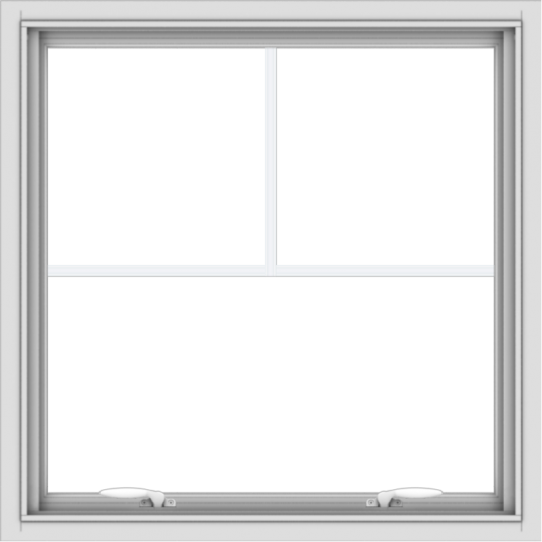 WDMA 30x30 (29.5 x 29.5 inch) White uPVC Vinyl Push out Awning Window with Fractional Grilles