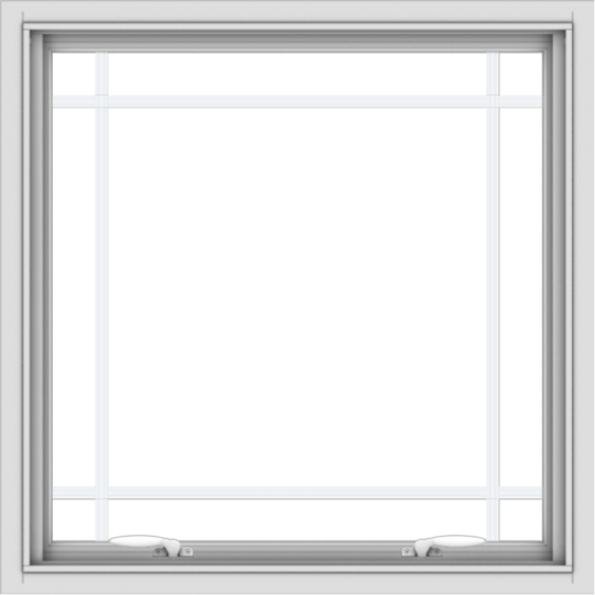 WDMA 30x30 (29.5 x 29.5 inch) White uPVC Vinyl Push out Awning Window with Prairie Grilles