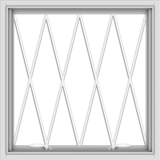 WDMA 30x30 (29.5 x 29.5 inch) White uPVC Vinyl Push out Awning Window without Grids with Diamond Grills