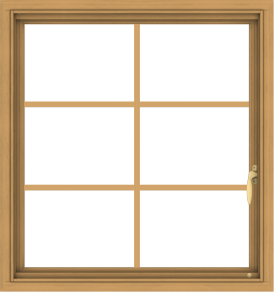 WDMA 30x32 (29.5 x 31.5 inch) Pine Wood Light Grey Aluminum Push out Casement Window with Colonial Grids