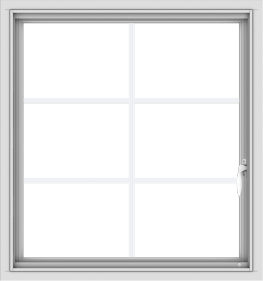 WDMA 30x32 (29.5 x 31.5 inch) Vinyl uPVC White Push out Casement Window with Colonial Grids