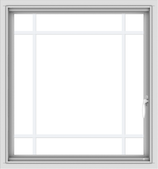 WDMA 30x32 (29.5 x 31.5 inch) Vinyl uPVC White Push out Casement Window with Prairie Grilles