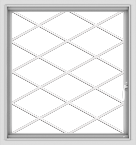 WDMA 30x32 (29.5 x 31.5 inch) Vinyl uPVC White Push out Casement Window  with Diamond Grills