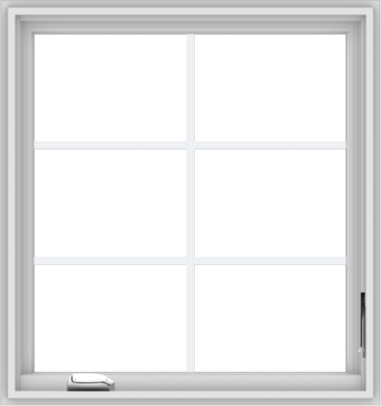 WDMA 30x32 (29.5 x 31.5 inch) White Vinyl uPVC Crank out Casement Window with Colonial Grids