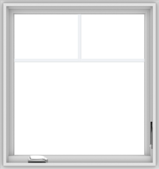 WDMA 30x32 (29.5 x 31.5 inch) White Vinyl uPVC Crank out Casement Window with Fractional Grilles