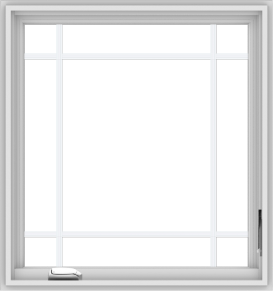 WDMA 30x32 (29.5 x 31.5 inch) White Vinyl uPVC Crank out Casement Window with Prairie Grilles