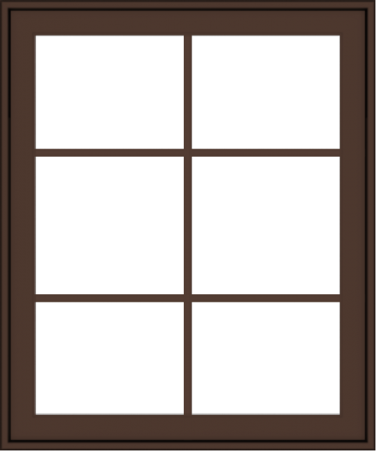 WDMA 30x36 (29.5 x 35.5 inch) Oak Wood Dark Brown Bronze Aluminum Crank out Awning Window with Colonial Grids Exterior