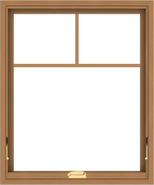 WDMA 30x36 (29.5 x 35.5 inch) Oak Wood Dark Brown Bronze Aluminum Crank out Awning Window with Fractional Grilles