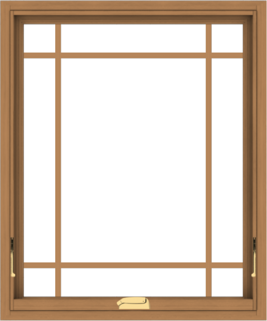 WDMA 30x36 (29.5 x 35.5 inch) Oak Wood Dark Brown Bronze Aluminum Crank out Awning Window with Prairie Grilles