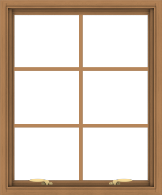 WDMA 30x36 (29.5 x 35.5 inch) Oak Wood Green Aluminum Push out Awning Window with Colonial Grids Interior