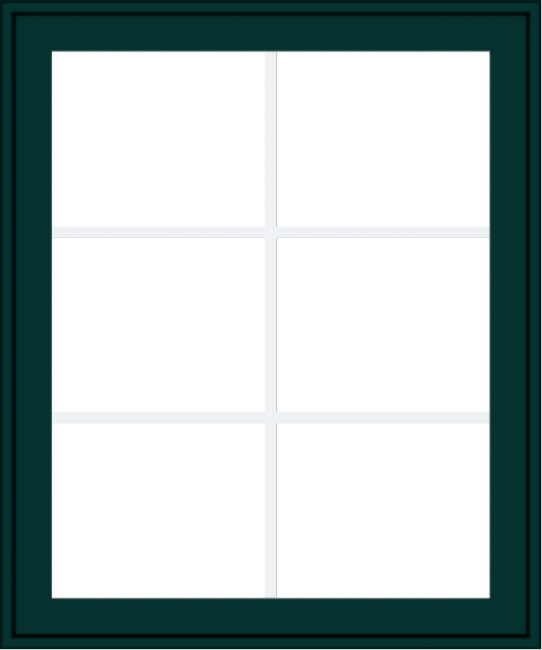 WDMA 30x36 (29.5 x 35.5 inch) Oak Wood Green Aluminum Push out Awning Window with Colonial Grids Exterior