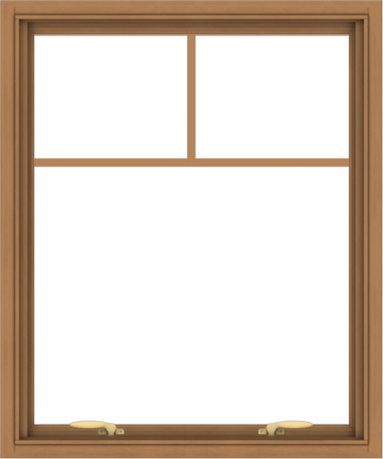 WDMA 30x36 (29.5 x 35.5 inch) Oak Wood Green Aluminum Push out Awning Window with Fractional Grilles
