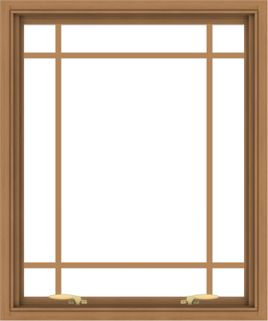 WDMA 30x36 (29.5 x 35.5 inch) Oak Wood Green Aluminum Push out Awning Window with Prairie Grilles