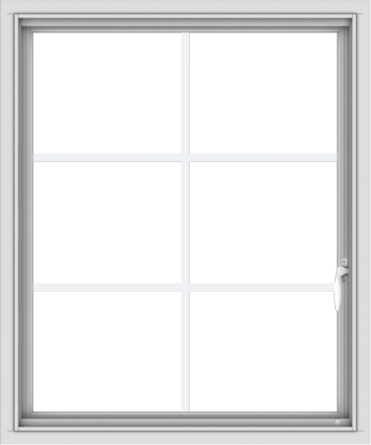 WDMA 30x36 (29.5 x 35.5 inch) Vinyl uPVC White Push out Casement Window with Colonial Grids