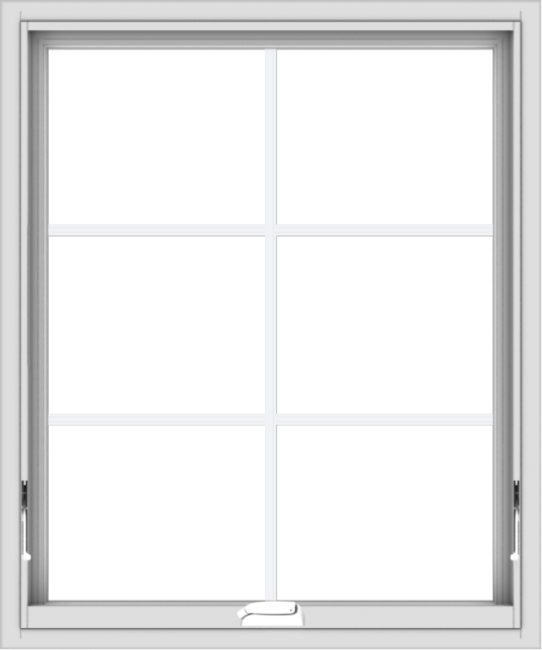 WDMA 30x36 (29.5 x 35.5 inch) White Vinyl uPVC Crank out Awning Window with Colonial Grids Interior