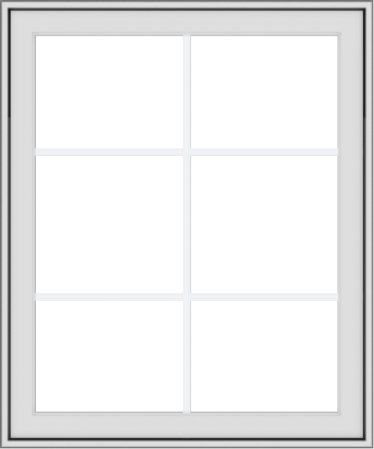 WDMA 30x36 (29.5 x 35.5 inch) White Vinyl uPVC Crank out Awning Window with Colonial Grids Exterior