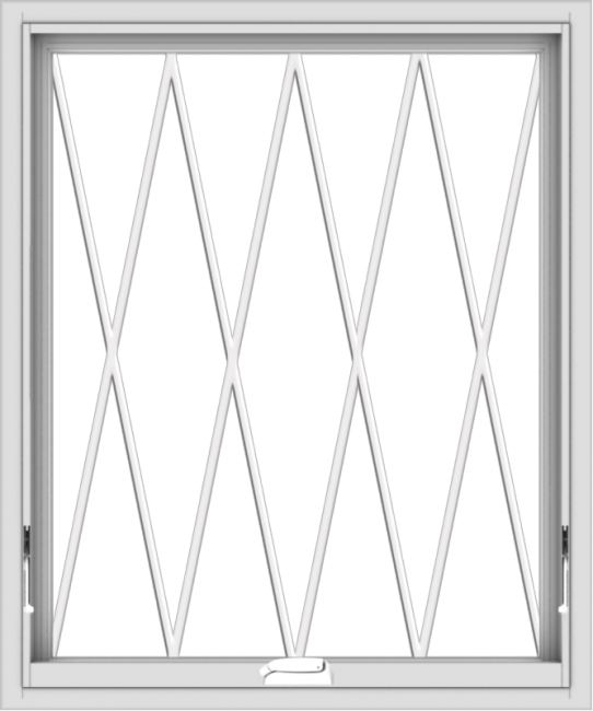 WDMA 30x36 (29.5 x 35.5 inch) White Vinyl uPVC Crank out Awning Window without Grids with Diamond Grills