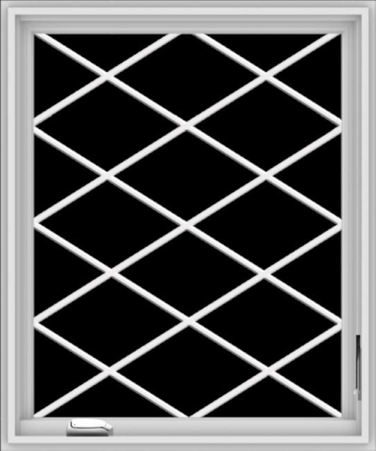 WDMA 30x36 (29.5 x 35.5 inch) White Vinyl uPVC Crank out Casement Window  with Diamond Grills