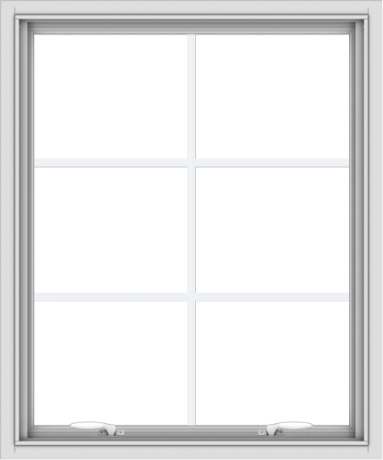 WDMA 30x36 (29.5 x 35.5 inch) White uPVC Vinyl Push out Awning Window with Colonial Grids Interior