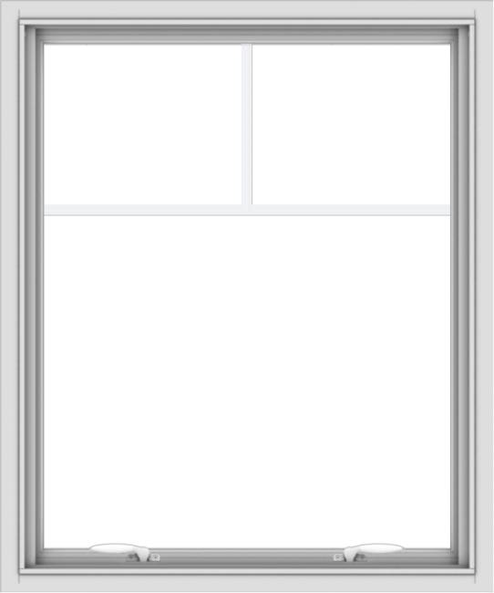 WDMA 30x36 (29.5 x 35.5 inch) White uPVC Vinyl Push out Awning Window with Fractional Grilles