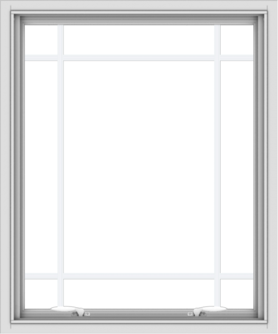 WDMA 30x36 (29.5 x 35.5 inch) White uPVC Vinyl Push out Awning Window with Prairie Grilles