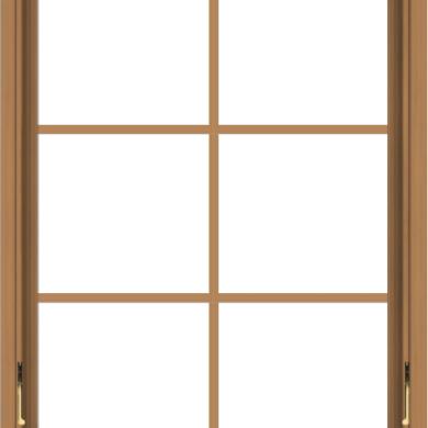 WDMA 30x40 (29.5 x 39.5 inch) Oak Wood Dark Brown Bronze Aluminum Crank out Awning Window with Colonial Grids Interior
