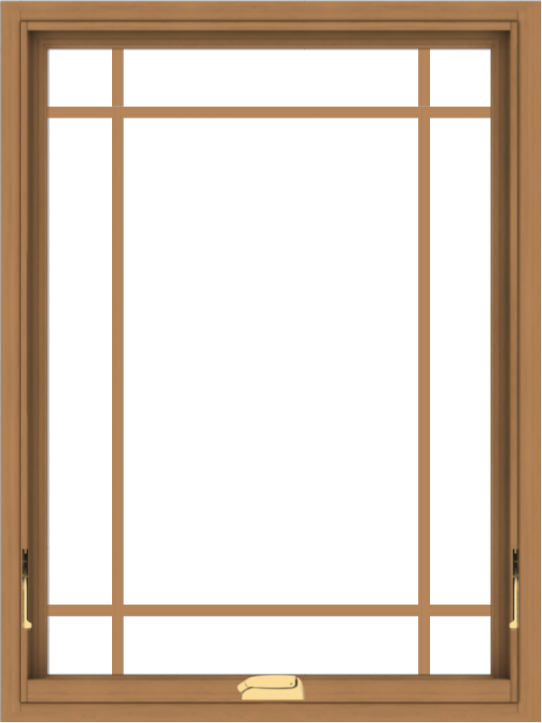 WDMA 30x40 (29.5 x 39.5 inch) Oak Wood Dark Brown Bronze Aluminum Crank out Awning Window with Prairie Grilles