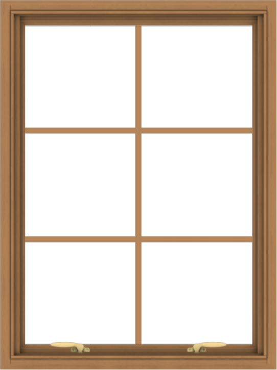WDMA 30x40 (29.5 x 39.5 inch) Oak Wood Green Aluminum Push out Awning Window with Colonial Grids Interior