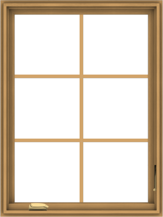WDMA 30x40 (29.5 x 39.5 inch) Pine Wood Dark Grey Aluminum Crank out Casement Window with Colonial Grids