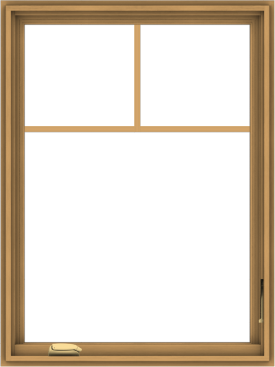 WDMA 30x40 (29.5 x 39.5 inch) Pine Wood Dark Grey Aluminum Crank out Casement Window with Fractional Grilles