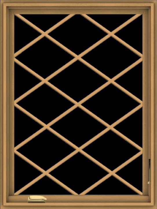 WDMA 30x40 (29.5 x 39.5 inch) Pine Wood Dark Grey Aluminum Crank out Casement Window  with Diamond Grills