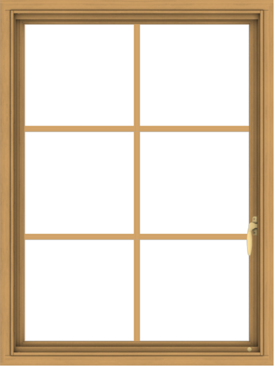 WDMA 30x40 (29.5 x 39.5 inch) Pine Wood Light Grey Aluminum Push out Casement Window with Colonial Grids
