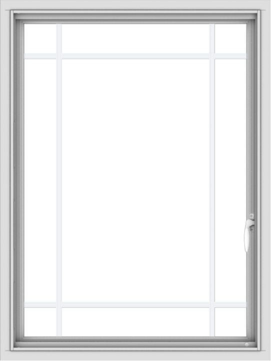 WDMA 30x40 (29.5 x 39.5 inch) Vinyl uPVC White Push out Casement Window with Prairie Grilles