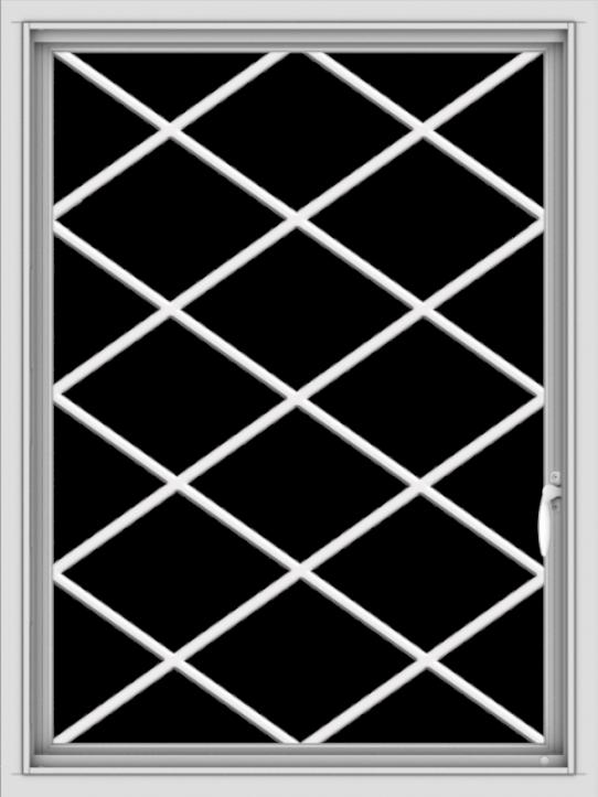 WDMA 30x40 (29.5 x 39.5 inch) Vinyl uPVC White Push out Casement Window  with Diamond Grills