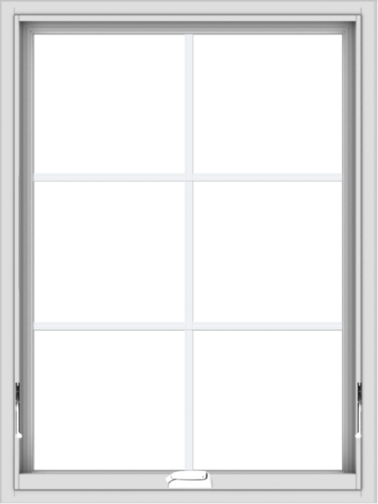 WDMA 30x40 (29.5 x 39.5 inch) White Vinyl uPVC Crank out Awning Window with Colonial Grids Interior