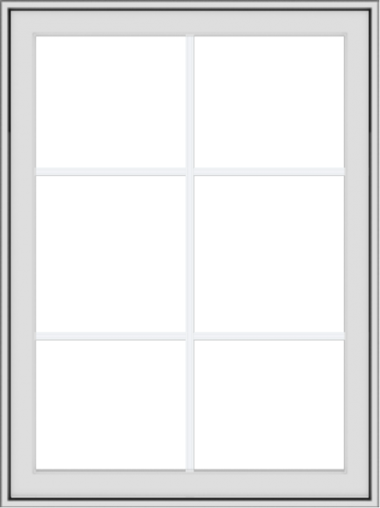 WDMA 30x40 (29.5 x 39.5 inch) White Vinyl uPVC Crank out Awning Window with Colonial Grids Exterior