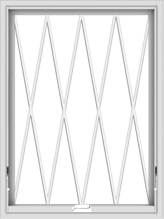 WDMA 30x40 (29.5 x 39.5 inch) White Vinyl uPVC Crank out Awning Window without Grids with Diamond Grills