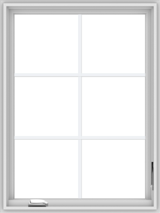 WDMA 30x40 (29.5 x 39.5 inch) White Vinyl uPVC Crank out Casement Window with Colonial Grids