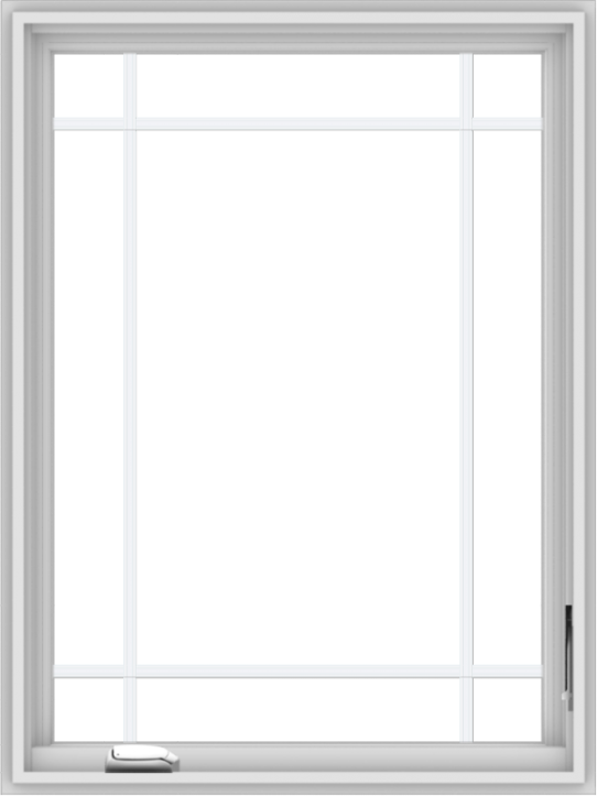 WDMA 30x40 (29.5 x 39.5 inch) White Vinyl uPVC Crank out Casement Window with Prairie Grilles