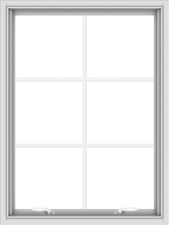 WDMA 30x40 (29.5 x 39.5 inch) White uPVC Vinyl Push out Awning Window with Colonial Grids Interior
